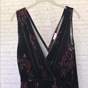 Black Velvet Jumpsuit with Floral Details